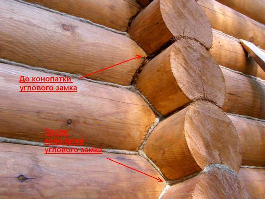 Конопатка сруба из оцилиндрованного бревна